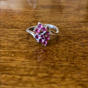 Sterling silver and ruby stone vintage ring